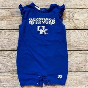 3/$12 university of Kentucky ruffle sleeve romper